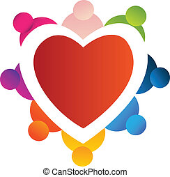 Teamwork around heart logo
