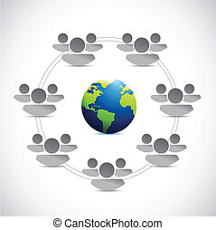 teamwork around the globe. illustration