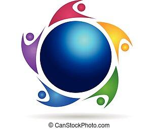 Teamwork around world logo