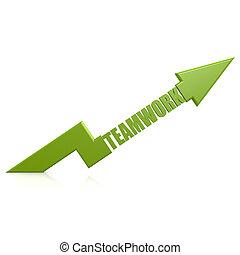 Teamwork arrow up green