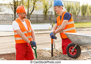 Teamwork at road construction