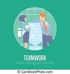 Teamwork banner with business people