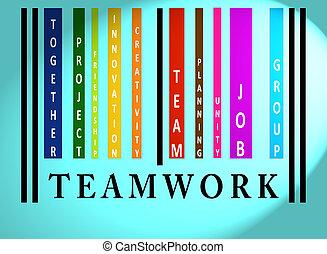 teamwork, barcode, słowo, barwny