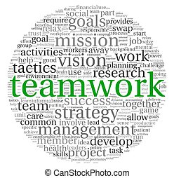 teamwork, begrepp, ord, moln, etikett