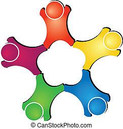 teamwork, beräknar, logo