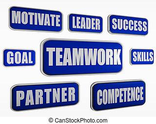 teamwork - blue business concept