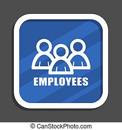 Teamwork blue flat design square web icon