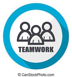 Teamwork blue flat design web icon