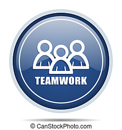 Teamwork blue round web icon. Circle isolated internet button for webdesign and smartphone applications.