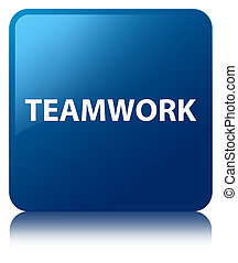 Teamwork blue square button