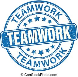 teamwork blue textured rubber stamp