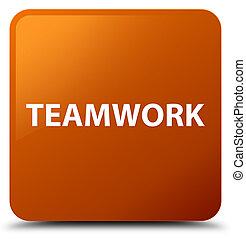 Teamwork brown square button