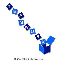 teamwork, buiten de doos