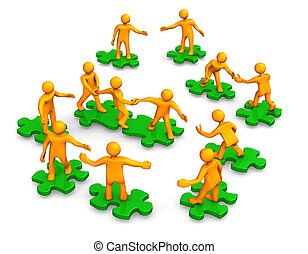 Orange cartoons on the green puzzles, symbolize a teamwork.