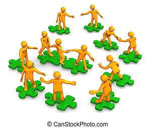 Orange cartoons on the green puzzles, symbolize a teamwork.