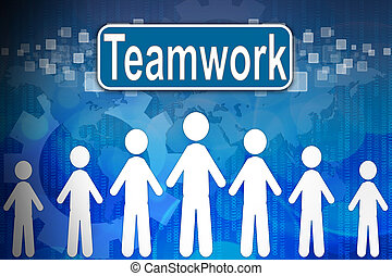 Teamwork ,Business concept in word Human resources