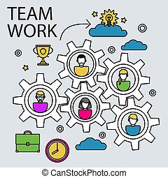 Teamwork business concept with gears and people vector illustration