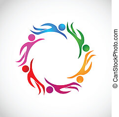 Teamwork business cooperation concept logo vector
