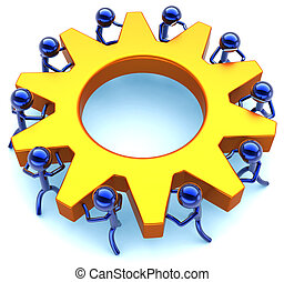 Business teamwork process. Community efficiency cooperation abstract. Success of team concept. Stylized workers turning together an golden gear wheel. Detailed render 3D. Isolated on white background