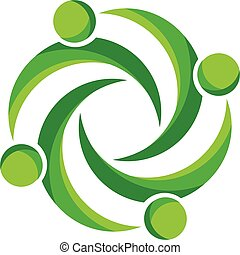 Teamwork business green people logo