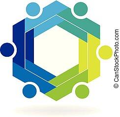 Teamwork business hexagon symbol