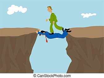 Teamwork - Business man helping each other. Concept...