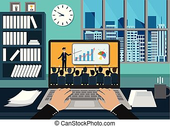 teamwork business meeting concept. businessmen help to brainstorm modern idea and to achieve success and rise. hand typing white modern keyboard on notebook. business finance concept. Vector