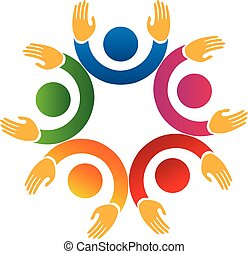 Teamwork business meeting people logo