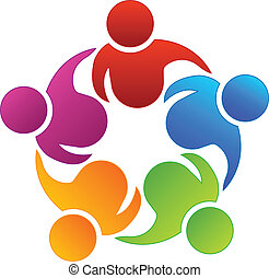 Teamwork business partners vector icon