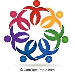 Teamwork business people logo