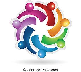Teamwork business symbol logo