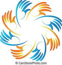 Teamwork business unity hands logo
