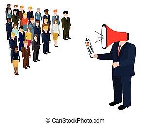 Teamwork business vector - Director subordinate commands.Man...
