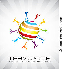 teamwork - businessman over shape sphere. vector ...
