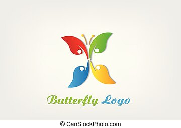 Teamwork butterfly nature people logo