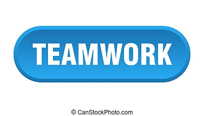 teamwork button. rounded sign on white background