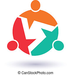 Teamwork Call out 3 people image. Concept of information, info graphic, community. Vector icon