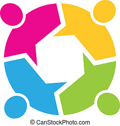 Teamwork Call out 4 people image. Concept of information