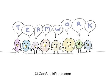 Teamwork Cartoon Bird Line