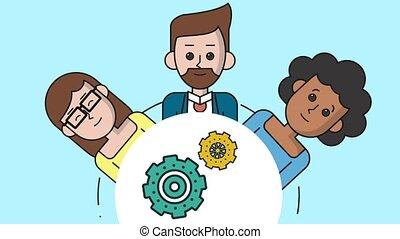 Teamwork cartoons with gears HD animation