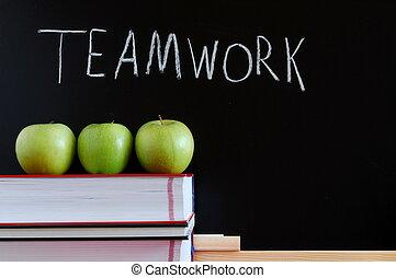 teamwork, chalkboard