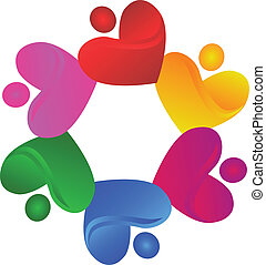 Teamwork charity hearts logo vector
