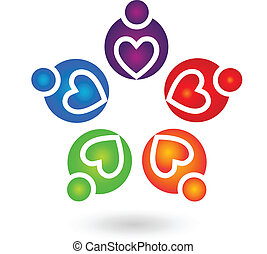 Teamwork charity people logo vector design