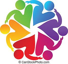 Vector of teamwork charity heart people symbol logo