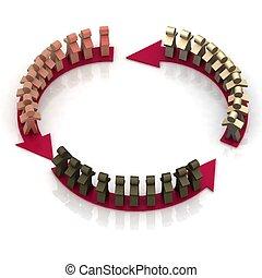 teamwork circle, business flow. 3d illustration