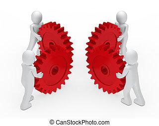 teamwork circle red gear