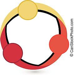 Teamwork circle shape logo vector image