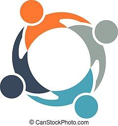 teamwork, cirkel, gruppe, folk