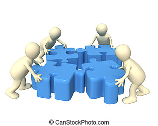 Teamwork - Four puppets, holding in hands a puzzle