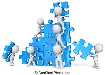 Teamwork. - The dude x 7 building large puzzle. Blue.
